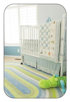Blue Green And Antique White Or Cream Baby Boy Nursery Area Rug In A Nautical Sailboat Room