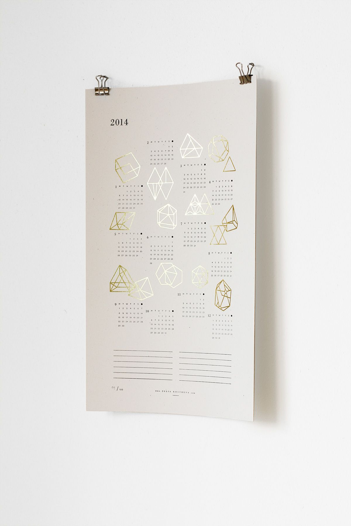 Gold Foil Prisms Calendar   Julia Kostreva Creative Studio (studio.juliakostreva.com)