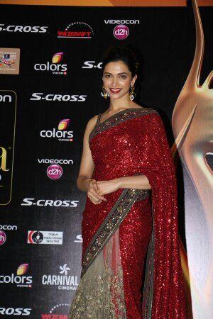 Deepika Padukone in RED Saree at IIFA award 2015 | Saree ...