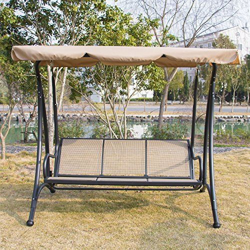 Doitpower Canopy Porch Patio Swing Hammock Chair Furniture 3 seat swing Brown 2 u003eu003eu003e & Doitpower Canopy Porch Patio Swing Hammock Chair Furniture 3 seat ...