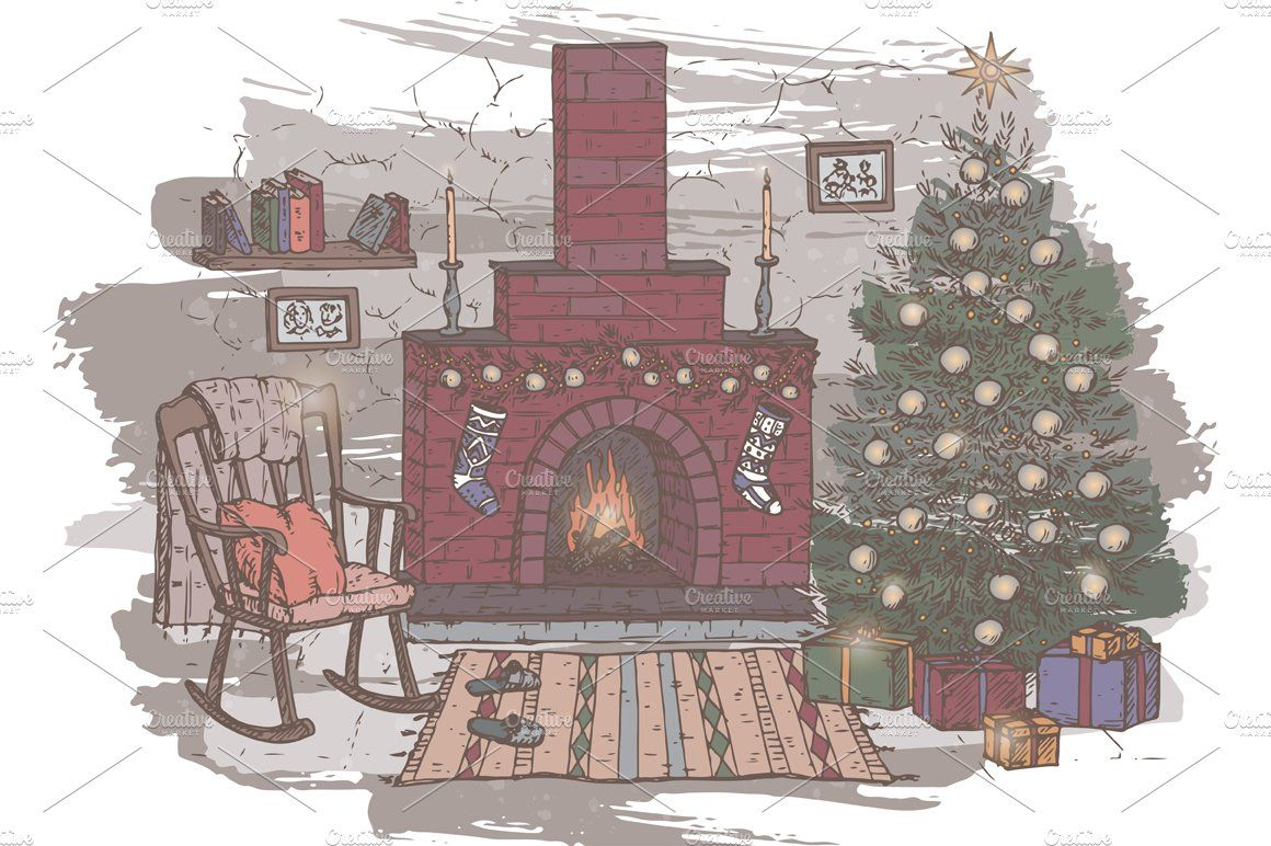 Christmas Card With Fireplace Fireplace Drawing Tree House Accessories Vintage Christmas