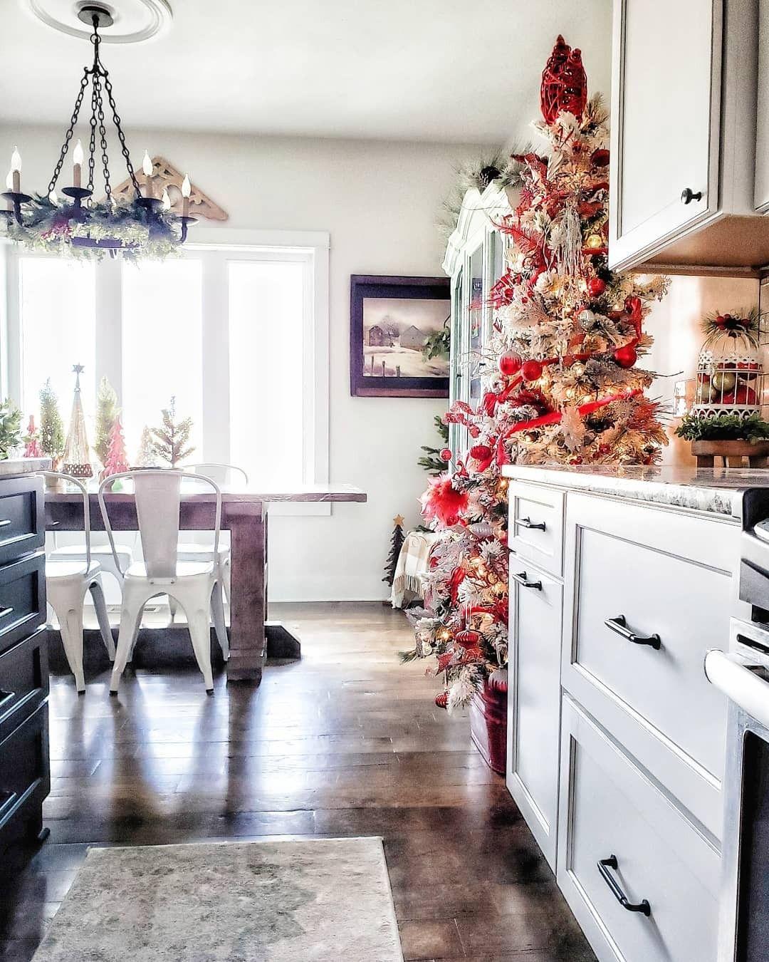 farmhouse kitchen christmas tree red and silver christmas decor white kitche christmas tree on farmhouse kitchen xmas id=60403