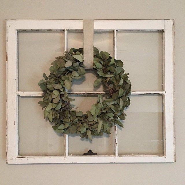 Photo of Dried eucalyptus wreath, everyday wreath, greenery wreath, wreath form base, entry wreath, preserved wreath, silver dollar eucalyptus, entry