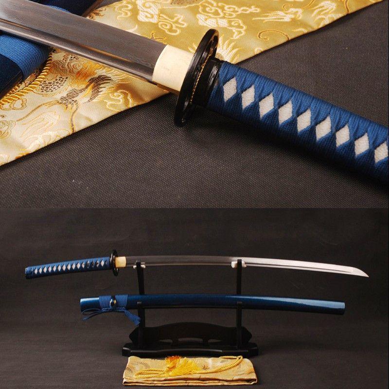 Fully Handmade Japanese Samurai Sword Folded Steel Blade