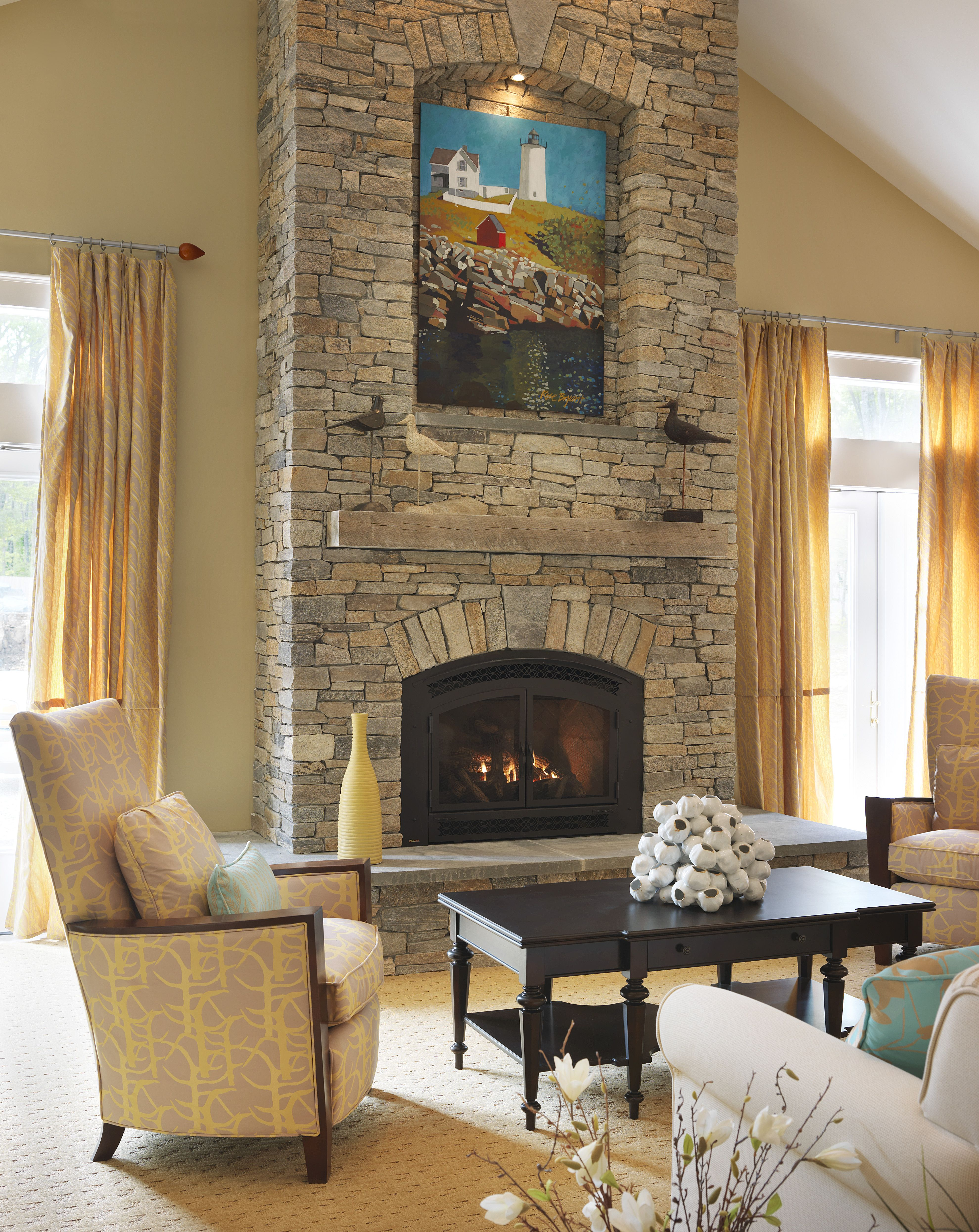 Fireplaces Great Rooms And Room: The Great Room Features A Stacked Stone Floor To Ceiling Fireplace With A Commission Painting Of