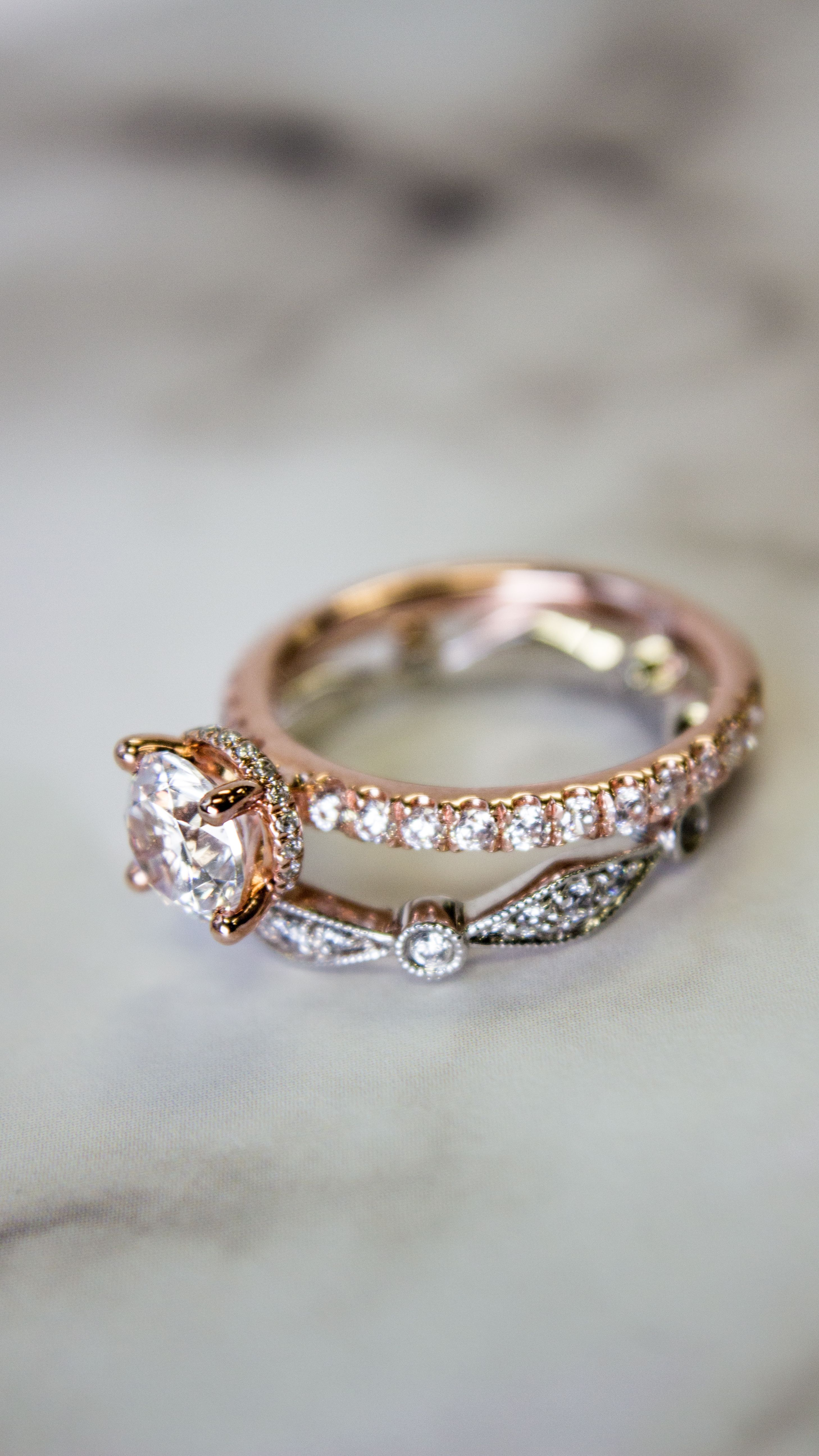 22687624a8e221 Rose Gold Hidden Halo Round Diamond Engagement Ring with Geometric  Stackable Wedding Band Fashion Ring