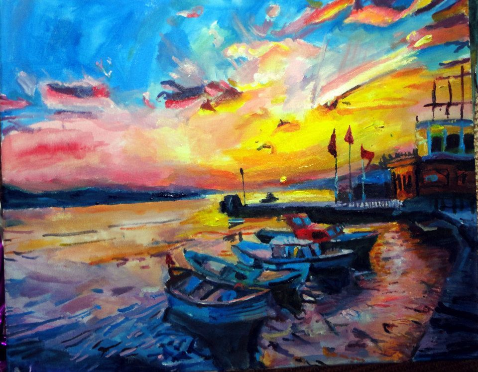 Colourful Sunset Fine Art Print Boat Limited Edition Sunset Acrylic ...