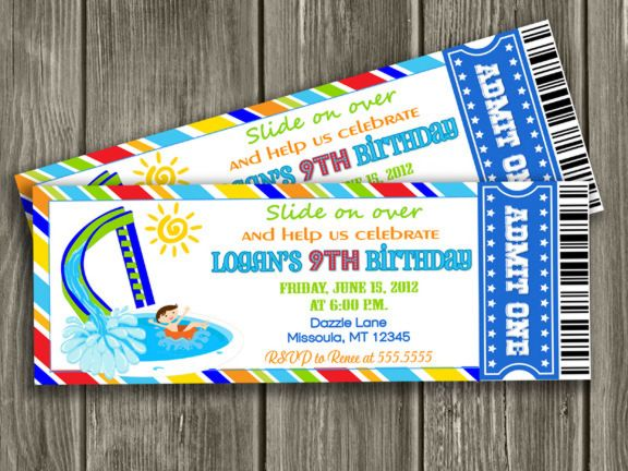 Printable Pool Party Ticket Birthday Invitation – Water Slide Party Invitations