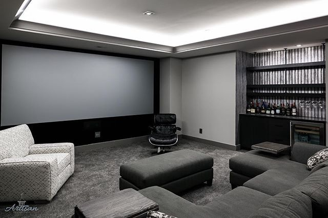 Lower Level Media Room With A 160 Tv And Led Lighting In The Tray Ceiling Custom Home Builders Custom Homes Home