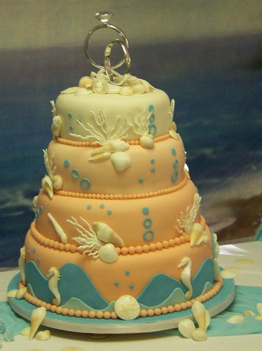 Beach Theme Wedding Cake with sea shells, coral, and sea horses as bride and groom.