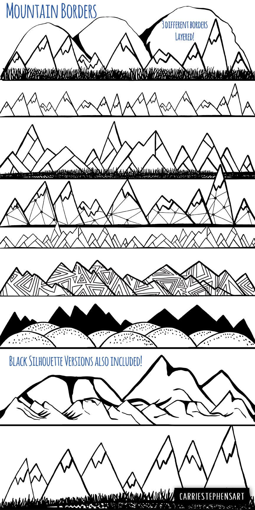 Printable Mountain Png Clipart Scrapbooking Image Mountains Svg Mountain peaks Svg Hills Cutting File Clip Art SVG DXF Png