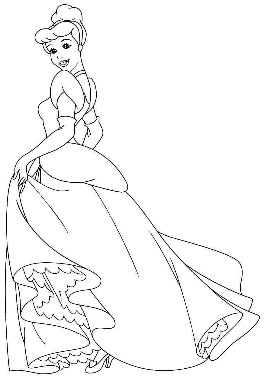 Free Printable Coloring Sheets Disney Princess Cinderella For Little