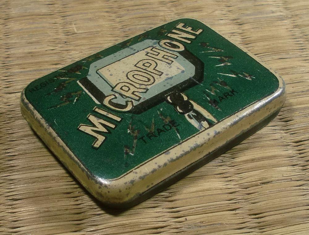"Gramophone Needle Tin / ""Microphone"" / Japanese / Vintage"