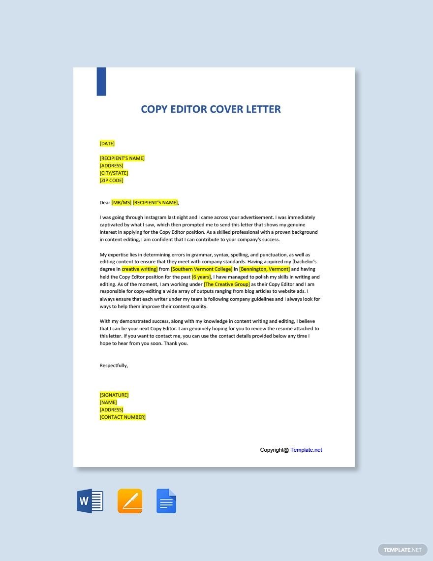 Copy editor cover letter template free pdf word
