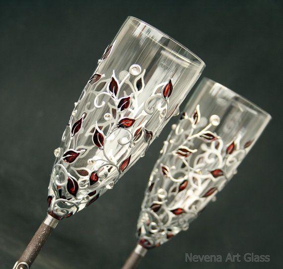Champagner-Gläser Gläser Hochzeit Herbst von NevenaArtGlass auf Etsy