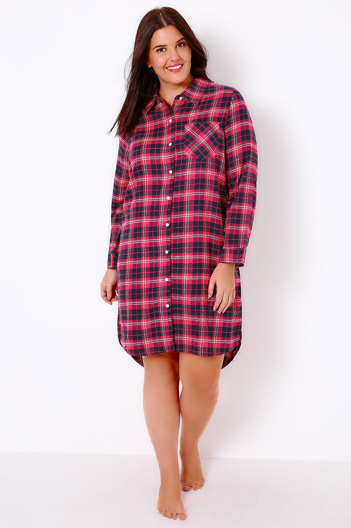 5082c92ffaba Pink   Navy Brushed Check Nightshirt With Metallic Thread ...