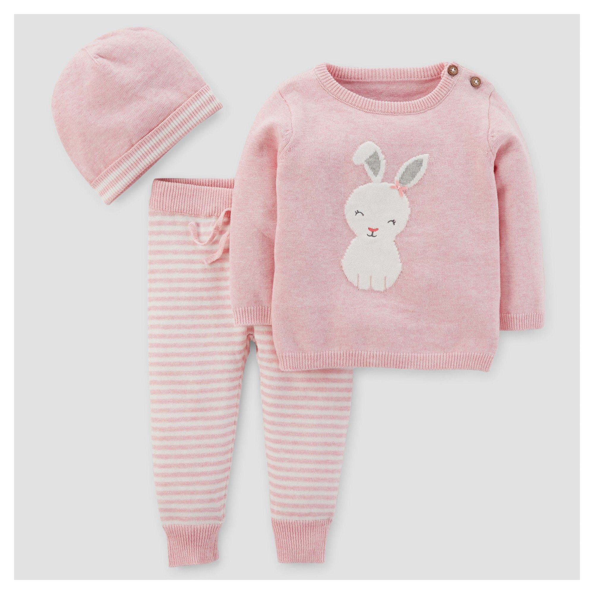 0a7008121d76 Baby Girls  3pc Bunny Stripe Sweater Set - Just One You Made by Carter s  Pink 3M