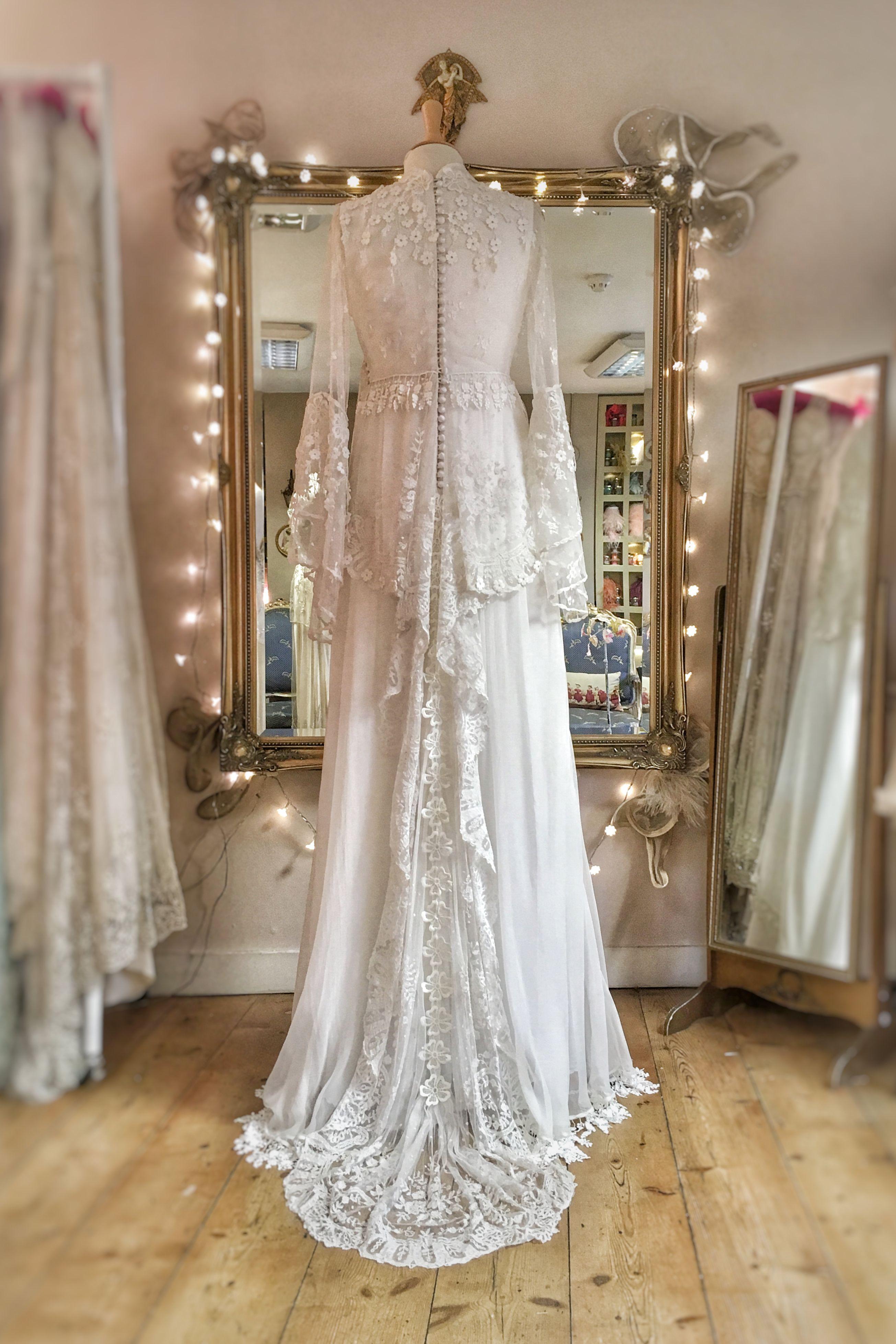Antique Lace Bohemian Wedding Dress for a Festival Bride