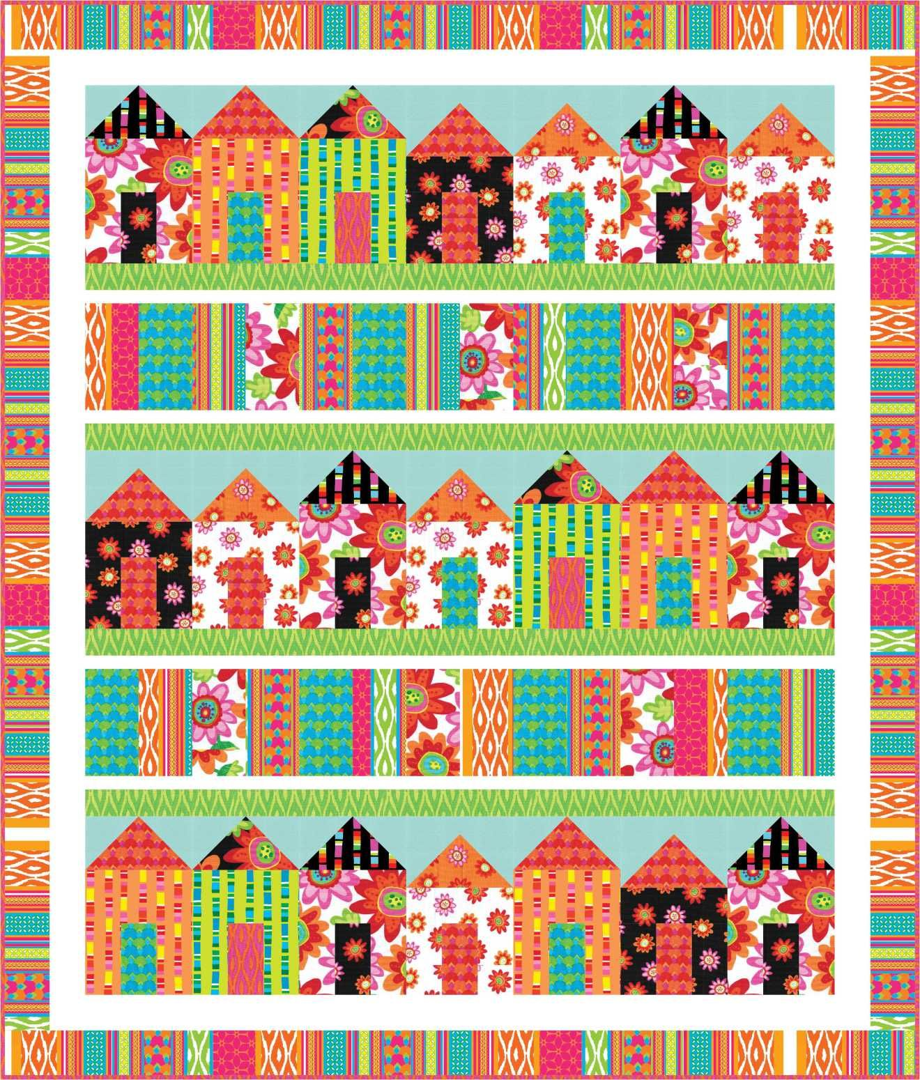 FREE PATTERN Pretty Little Houses is part of House quilt patterns, House quilts, Quilt patterns free, Quilts, House quilt block, Free quilting - Hello Friends, Happy Monday! I am so glad you are back for a visit  Please allow me to thank you for all your kind comments for Nancy in my post about Nancy opening a quilt shop with her friend  …