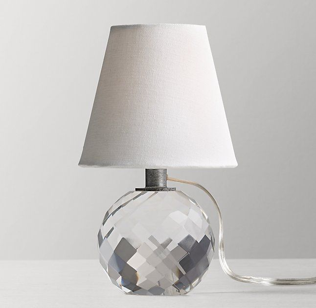 Mini Lourdes Crystal Ball Table Lamp With Shade Bedroom
