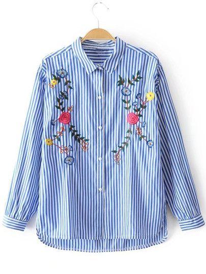 Embroidered Flower Dip Hem Striped Blouse