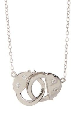 Sterling Silver CZ Accented Handcuff Pendant Necklace