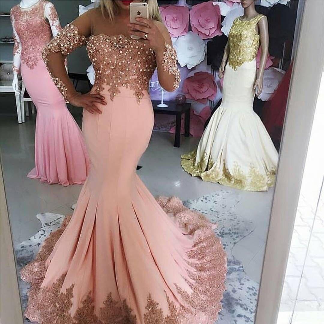 Charming prom dress full sleeve mermaid evening dress lace evening