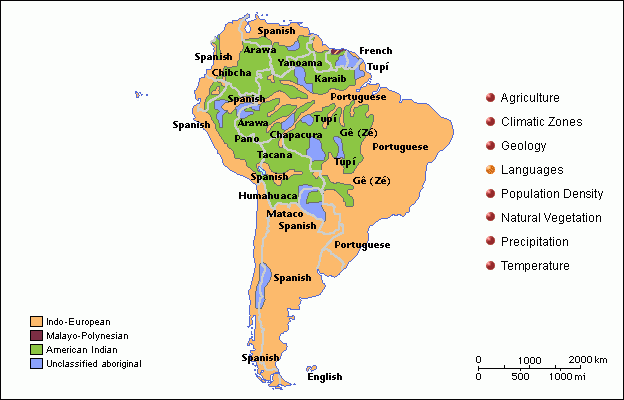 This Map Of South America Show The Variety Languages Spoken In: South America Map Of Languages At Usa Maps