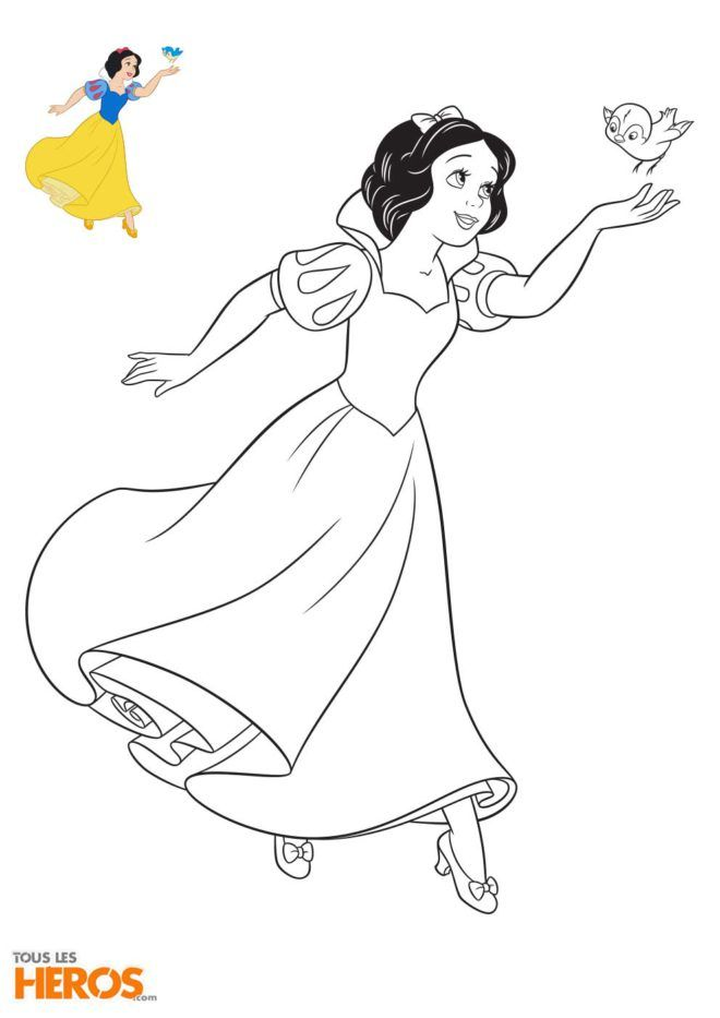coloriages disney princesses blanche neige avec un mignon petit oiseau collage dessins. Black Bedroom Furniture Sets. Home Design Ideas