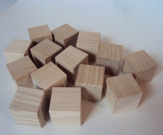 Wooden Cubes Set Of 14 Pieces Unfinished Hardwood Blocks 18 Inch