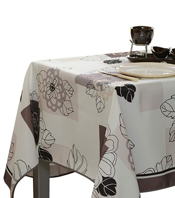 Amazon Com My Jolie Home 60 X 138 Inch Rectangular Tablecloth Ivory White Floral Blossom Stain Resistant Table Cloth Tablecloths For Sale Square Tablecloth