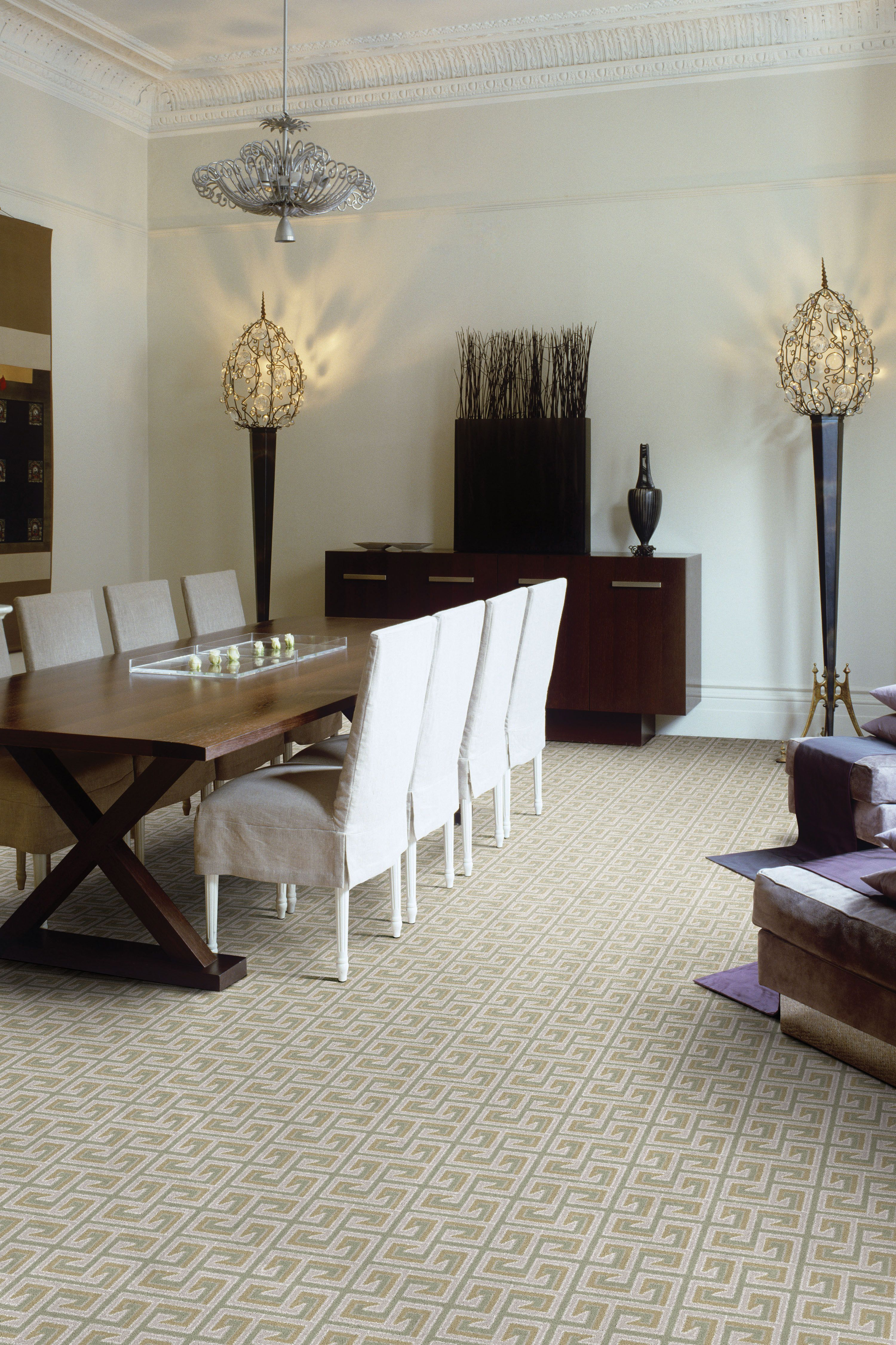 The Carpeting In This Room Is A Great Combo Of Beige And Grey Carpet Dining Room Modern Dining Room Area Rug Dining Room
