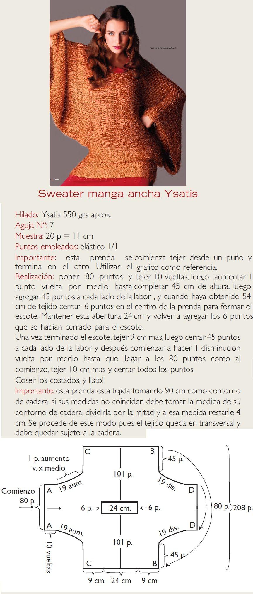 Sweter tejido a dos agujas. www.revistanube.com.ar