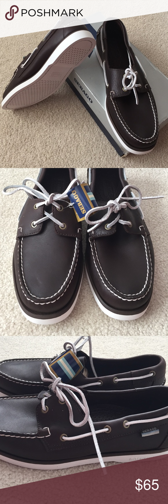 b0e2e7a17cac9 Men's Sebago Docksides 100% leather uppers, brand new condition. Color  chocolate brown with white laces and white soles.