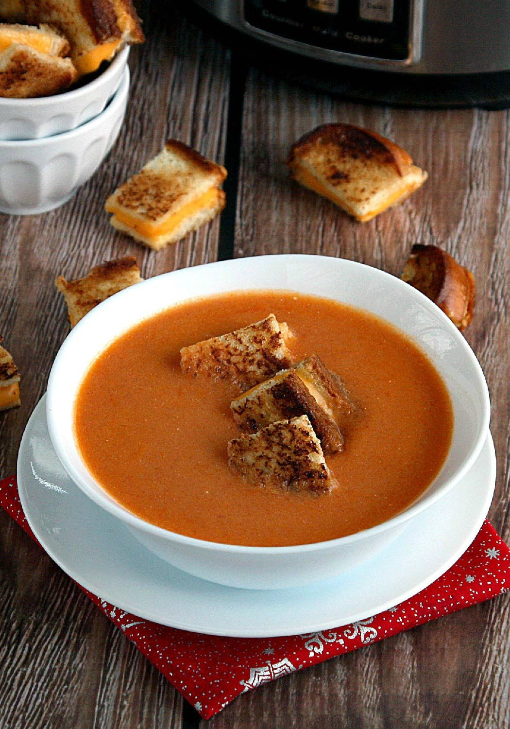 Slow Cooker Tomato Soup with Grilled Cheese Croutons – Slow cooker-simple, this easy soup is almost too good to be true. Recipe and photo by blogger, Jess Gonzalez, of www.onsugarmountain.com.