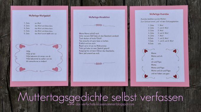 Das Verfuchste Klassenzimmer Gedichtekartei Fur Muttertag Und