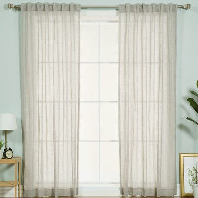 Best Home Fashion, Inc. Faux Pippin Linen Solid Sheer Rod Pocket Curtain Panels Color: