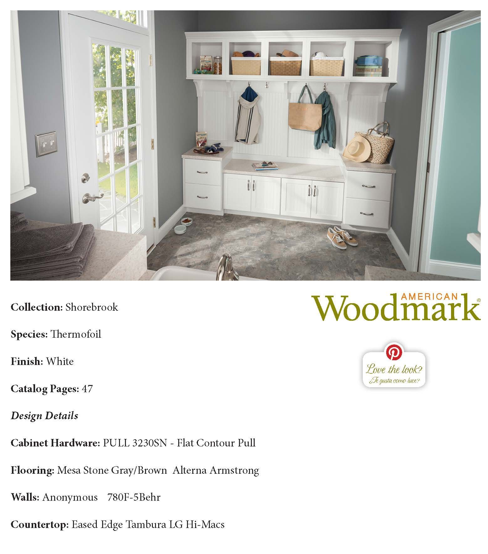 Shorebrook thermofoil white mud room american woodmark pinterest