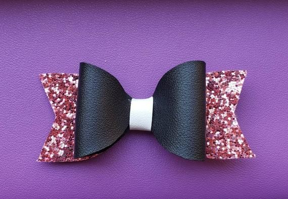 Pink Glitter Hair Bow for Girls Pink Black and White Hair Bow Faux Leather Bows Toddler Clip In Hair Accessory Glam Style Hair Bow