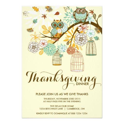 vintage autumn owls thanksgiving dinner invitation