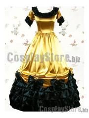 Cheap Black Gold Short Sleeves Ruffled Bow Classic Lolita Dress