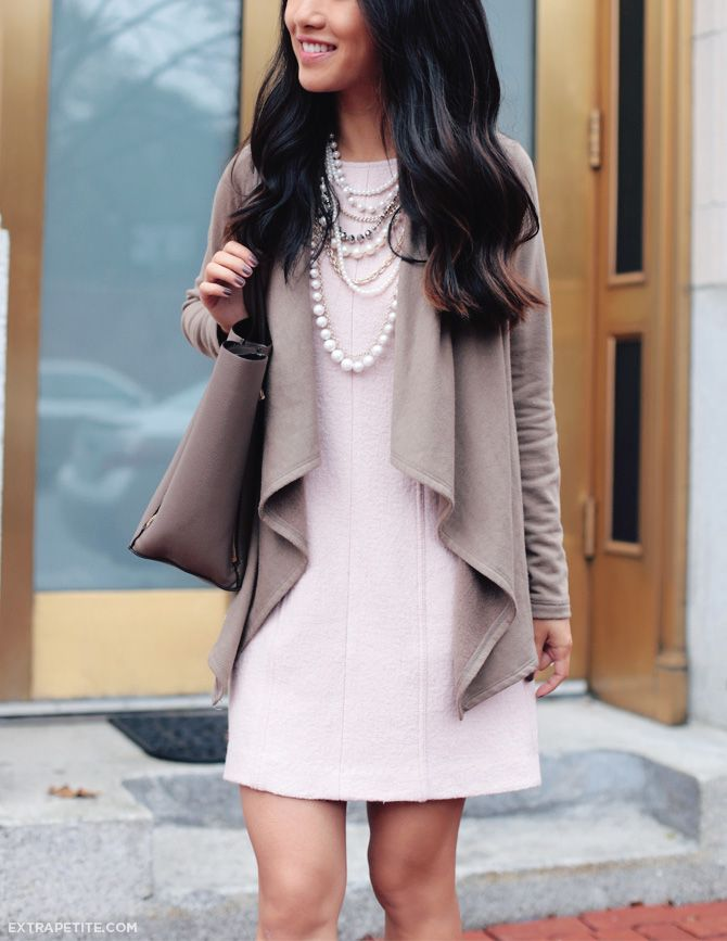 15a1726f94 Fall work outfit - drape cardigan + pink shift dress + pearls for the office