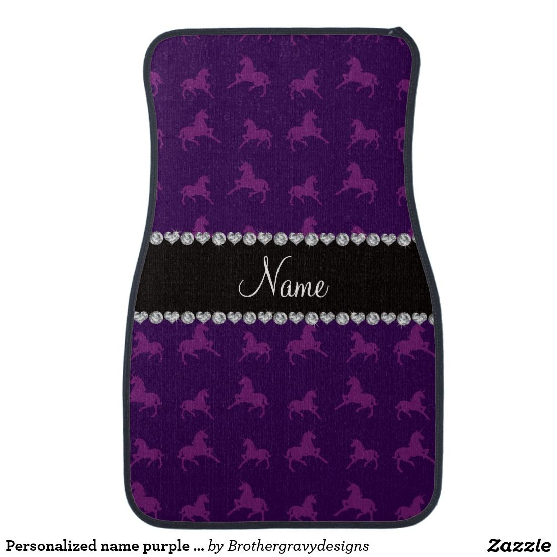 Personalized name purple unicorn pattern car mat | Unicorn gift ...
