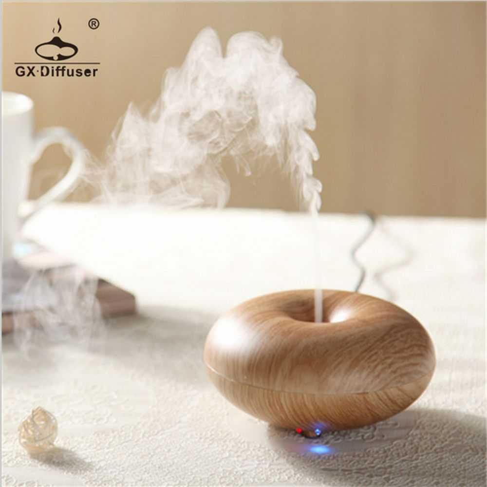 New Donut Shape Humidifier Home Appliances Mini Light Wooden Transducerultrasonic Piezoelectric Transducertransducer Ultrasonic Aromatherapy Led Fog Essential Oil