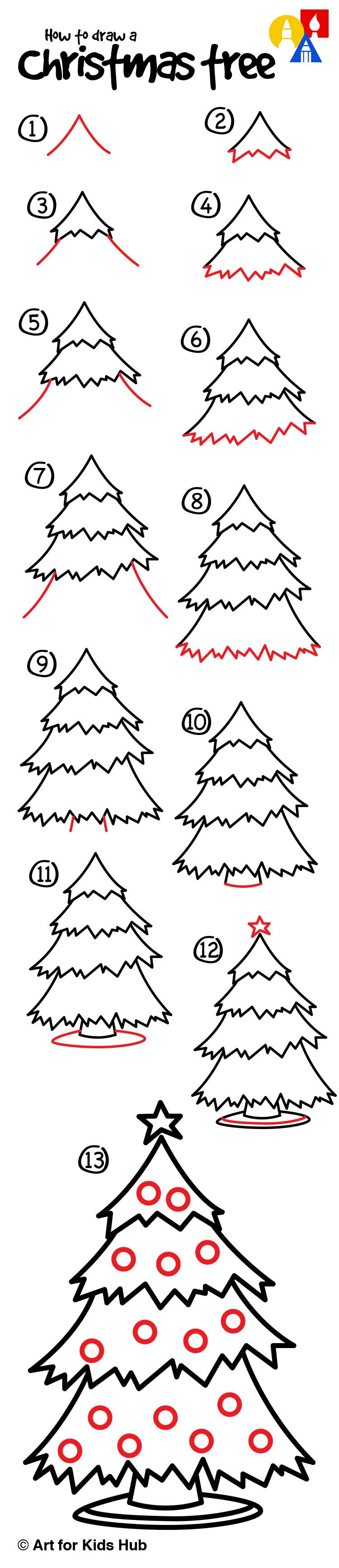 How To Draw A Christmas Tree Art For Kids Hub Christmas Tree