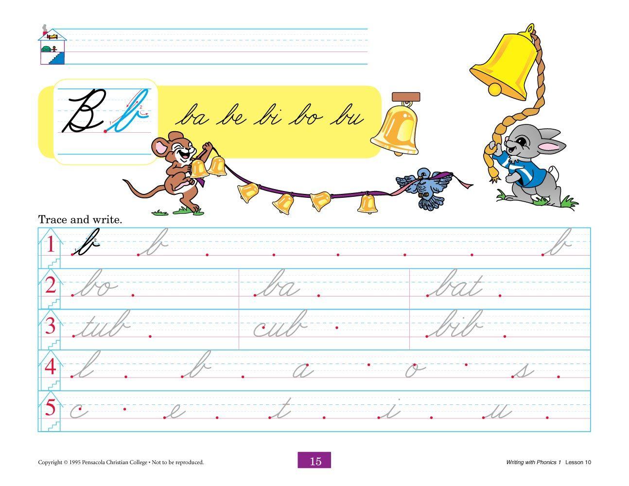 Abeka   Product Information   Writing with Phonics 1 Cursive   Writing  worksheets [ 1000 x 1294 Pixel ]