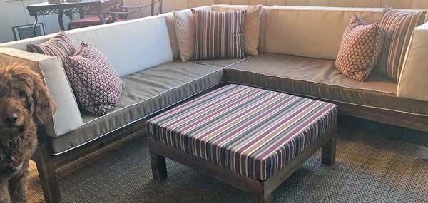 Sunbrella Cushion Covers and Ottoman Warm up Dog Friendly Patio