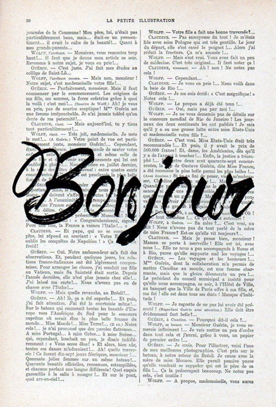 Bonjour French Word Print Typography Art Poster Home Decor