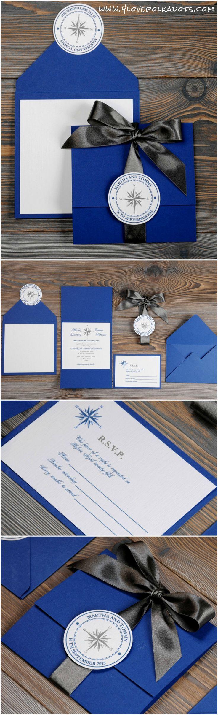Sea Nautical Wedding Invitation Sea Nautical Marine Navy