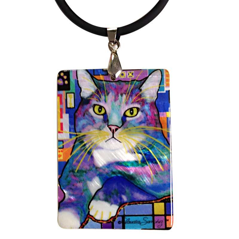 napper cat art jewelry mother of pearl pendant necklace by claudia sanchez